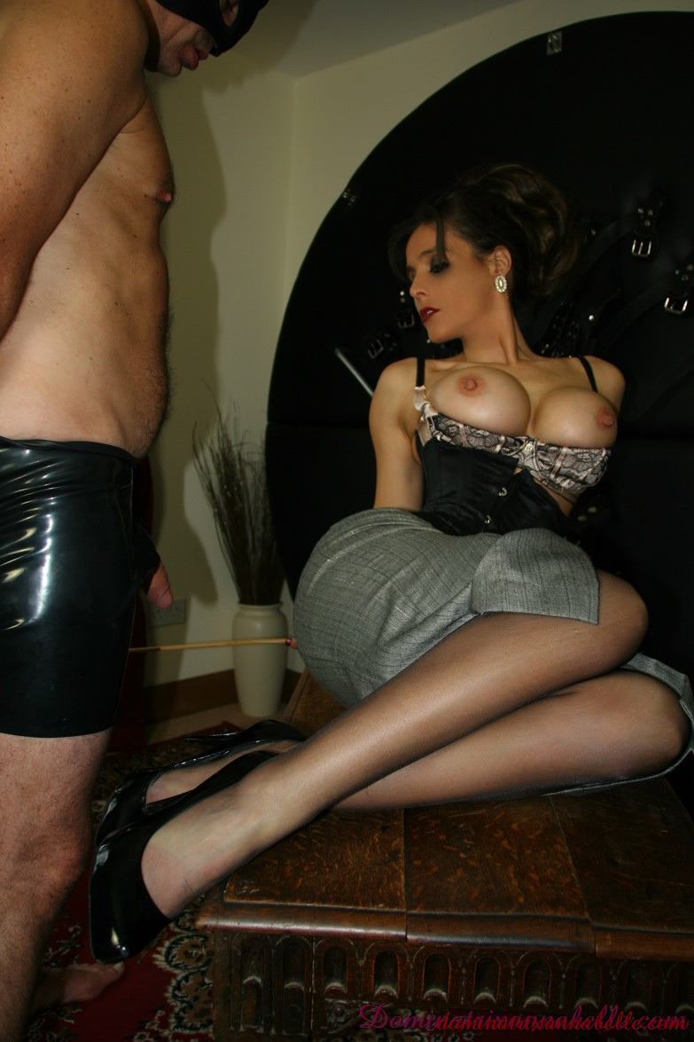 School mistress strapon and fucks fully bondaged slave boy 9